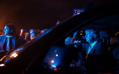 @realDonaldTrump in a vehicle after speaking at a campaign rally (Damon Winter/The New York Times)