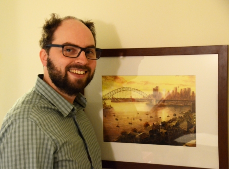 With a watercolour of Sydney Harbour and Bridge (Photo supplied by Lucasz)