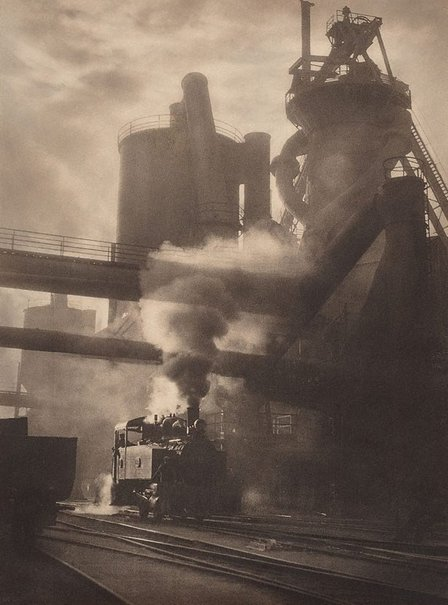 Steam and sunshine, Newcastle BHP (1934). By Harold Cazneaux.